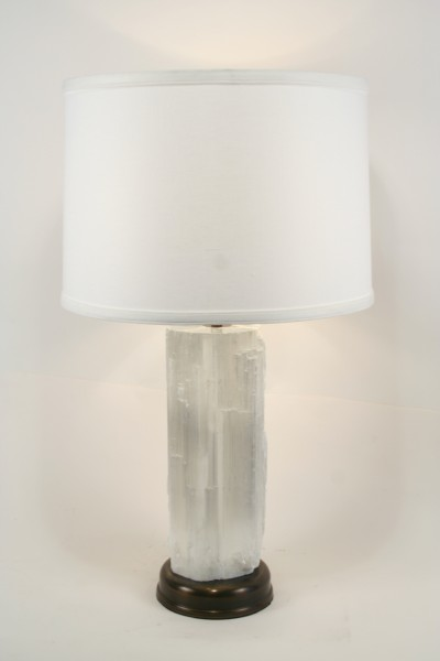 Modern Natural Stone Selenite Table Lamp Art Deco Decor