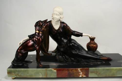 Menneville Art Deco Bronze Amp Ivory Statue Female With Dogs