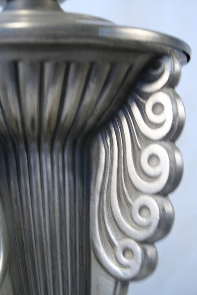 Art Deco Scroll Motif Silver Bronze Accent Table Lamp