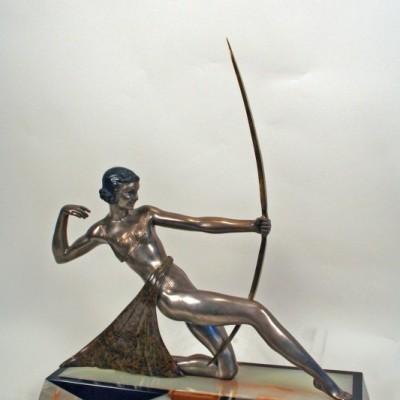 Art Deco Antique Silver Bronze Statue Diana The Archer