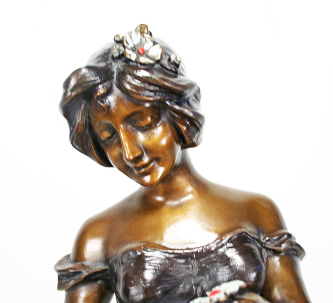 A De Ramey Art Nouveau Bronze Statue Girl With Flowers