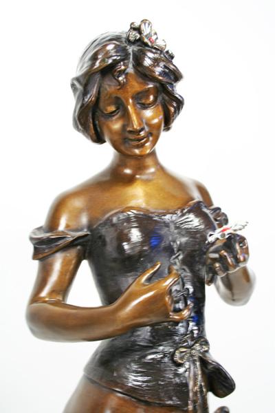 A De Ramey Art Nouveau Bronze Statue Girl With Flowers