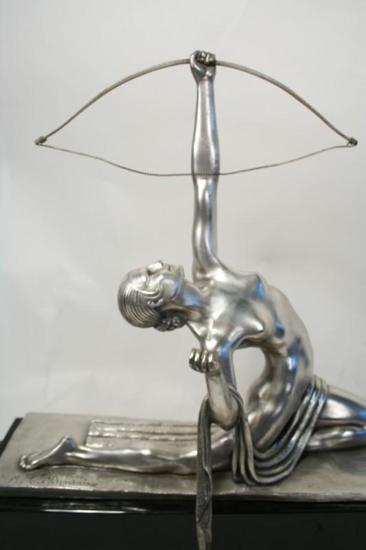 Marcel Bouraine Art Deco Bronze Statue Diana The Archer