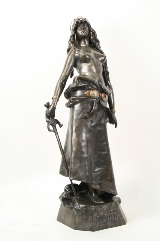 L Moreau Art Nouveau Bronze Statue Judith Warrior Female