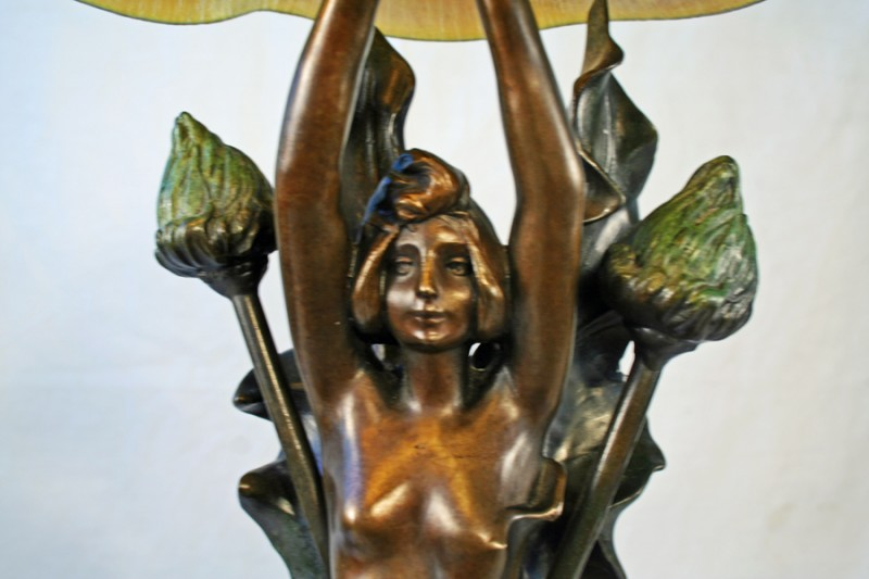 J Causse Art Nouveau Organic Lady Figurine Lamp Art