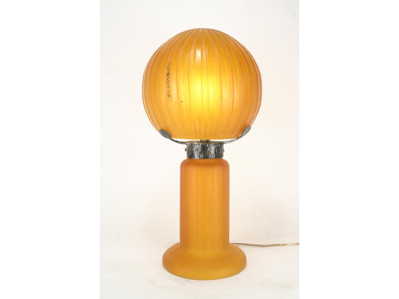 Daum Nancy Style Etched Glass Table Lamp Art Deco Decor