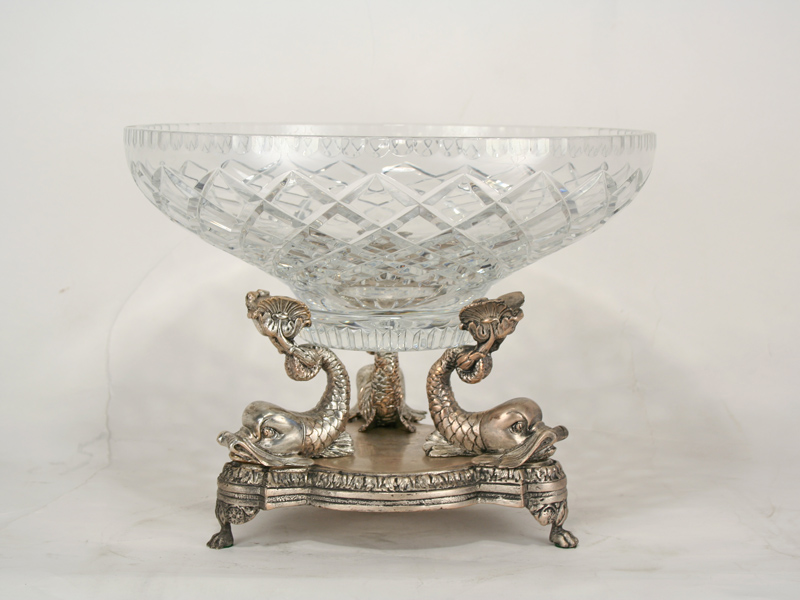 Triple Dolphin Bronze Amp Crystal Centerpiece Bowl Art