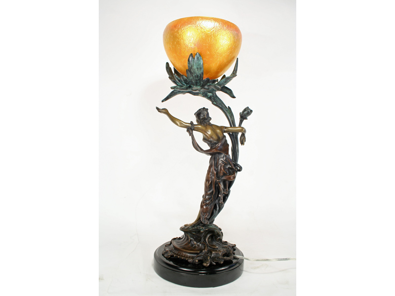 Art Nouveau Organic Flower Lady Figurine Lamp Art Deco Decor