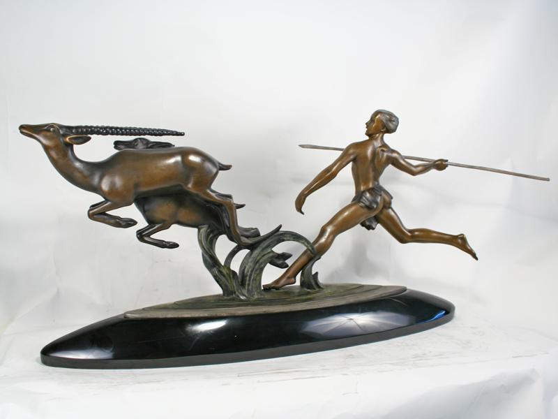 Kelety Art Deco Bronze Amazon Hunter Statue Art Deco Decor