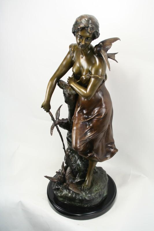 Campagne Art Nouveau Bronze Statue Charmeuse Art Deco Decor