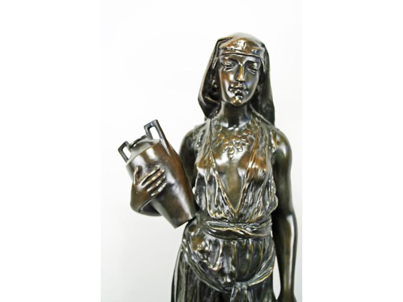 T Ghilmamy Art Nouveau Bronze Egyptian Slave Girl Statue