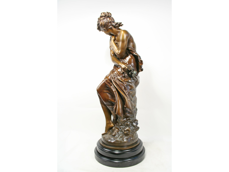 M Moreau Neoclassical Bronze Seated Maiden With Flowers