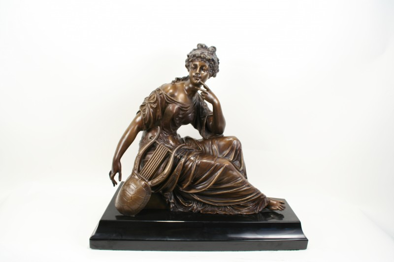 m moreau neoclassical bronze seated lady with harp statue