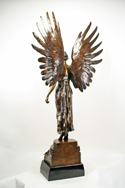 Kossowki Art Nouveau Bronze Statue Girl With Wings Art