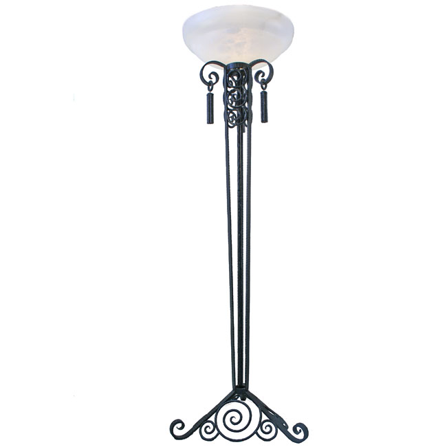 Paul Kiss Style Art Deco Wrought Iron Floor Lamp