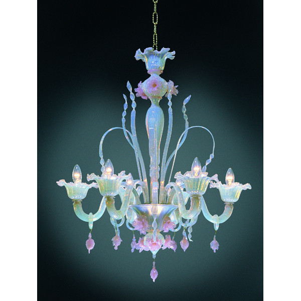Six Arm Pink Opeline Italian Murano Glass Flower Chandelier