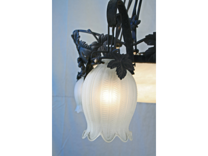 Muller Freres Art Deco Wrought Iron Glass Shade Chandelier