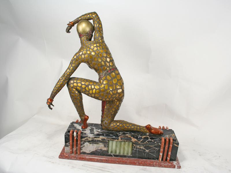 D H Chiparus Art Deco Bronze Fan Dancer Statue Art Deco