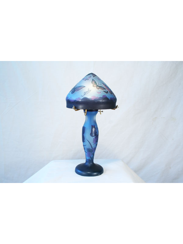Galle Style Blue Butterfly Glass Lamp