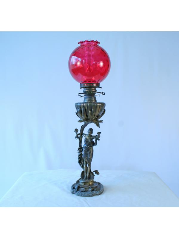 Antique Art Nouveau Bronze Figurine Electric Oil Lamp
