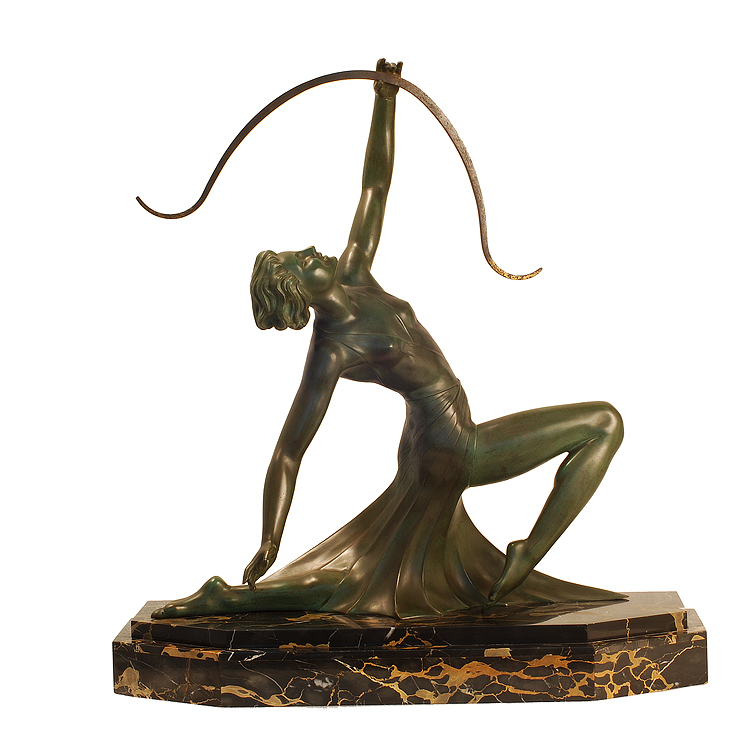 g daverny antique art deco sculpture of diana the archer art deco decor. Black Bedroom Furniture Sets. Home Design Ideas