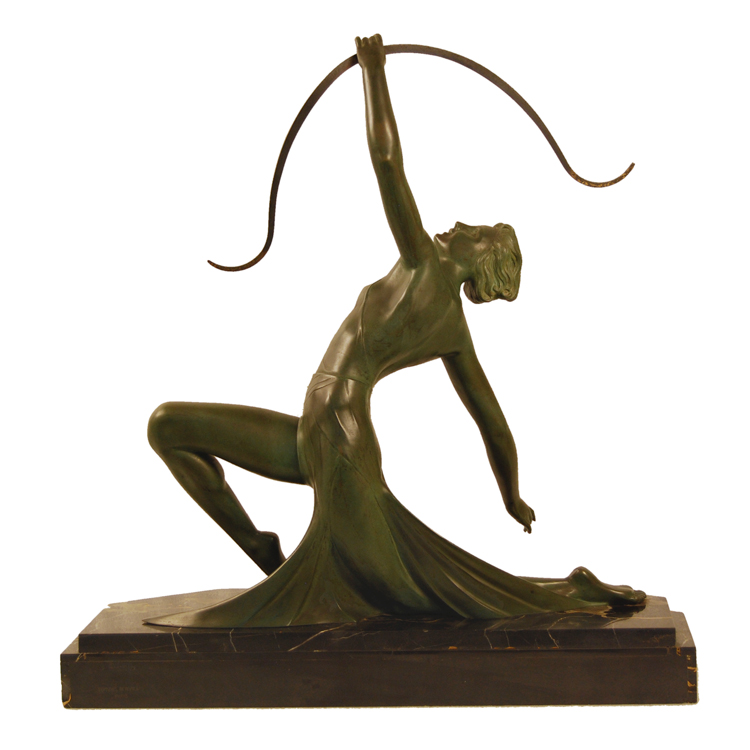 G Daverny Antique Art Deco Sculpture Of Diana The Archer