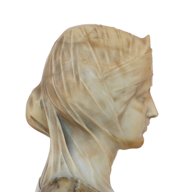Antique Italian Dual Color Marble Amp Alabaster Bust Female