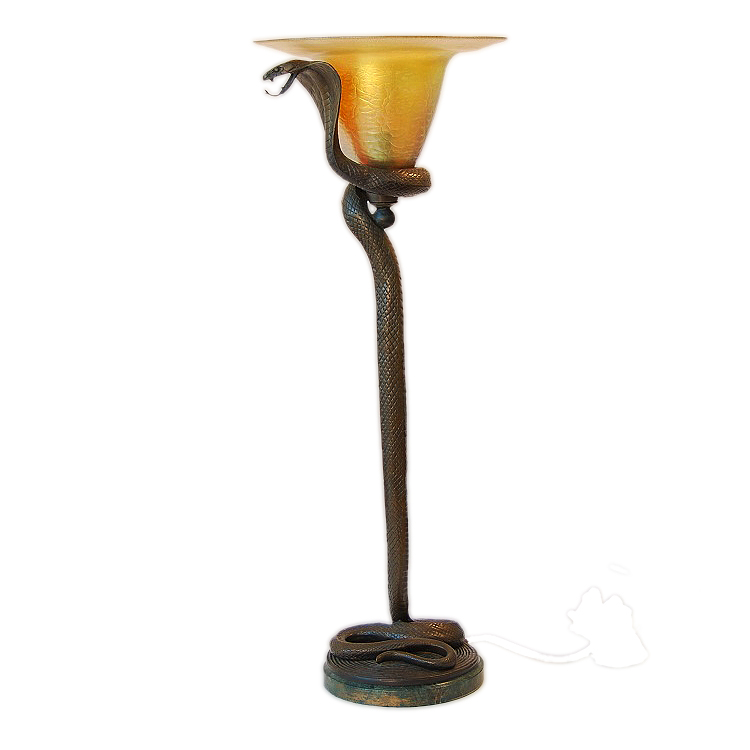 Art Deco Edgar Brandt Style Bronze Snake Table Floor Lamp