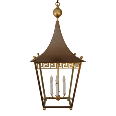 Greek Key Brass Lantern
