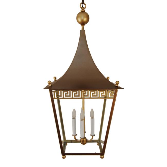 Greek key pagoda top brass lantern chandelier 1stdibs lighting art greek key brass lantern mozeypictures Images