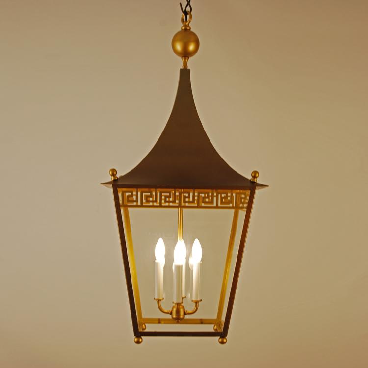Greek key pagoda top brass lantern chandelier 1stdibs lighting art greek key pattern lantern cluster body greek key chandelier lit mozeypictures Gallery