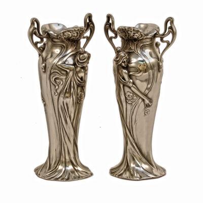 Antique Silver Art Nouveau Vases