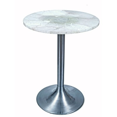 Modern Satin Steel 1stdibs Table with Natural Quartz