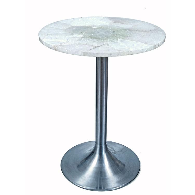 Modern Satin Steel 1stdibs Table With Natural Quartz