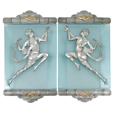 1stdibs Bronze Art Deco Lady Dancer Sconces with Etched Art Deco Glass