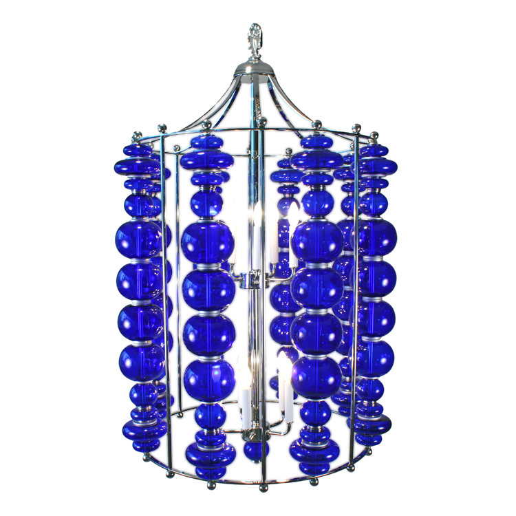 Custom Modern Cobalt Blue Art Glass 1stdibs Chandelier
