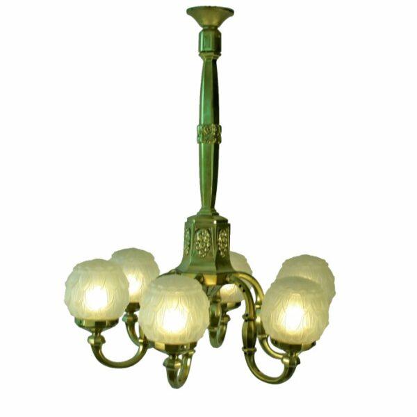 Art ... - Antique Art Deco Brass Frosted Globe Shade 1stdibs Chandelier Art