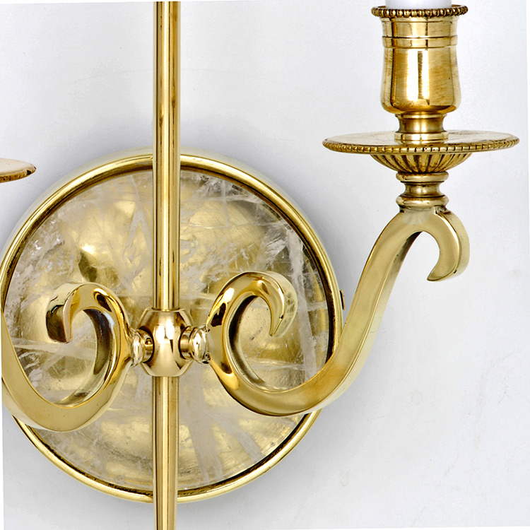Modern Solid Brass Double Arm Wall Sconce with Natural Rock Crystal Stone Art Deco Decor
