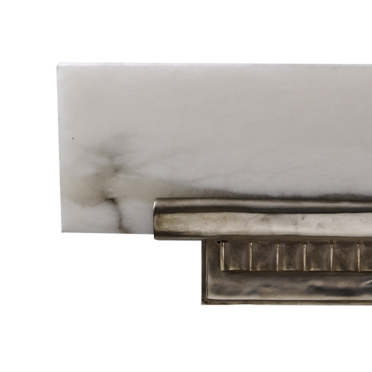 Wall Sconces Shelf : Ruhlmann Art Deco Antique Silver Bronze Alabaster Angled-Shelf Wall Sconce Art Deco Decor