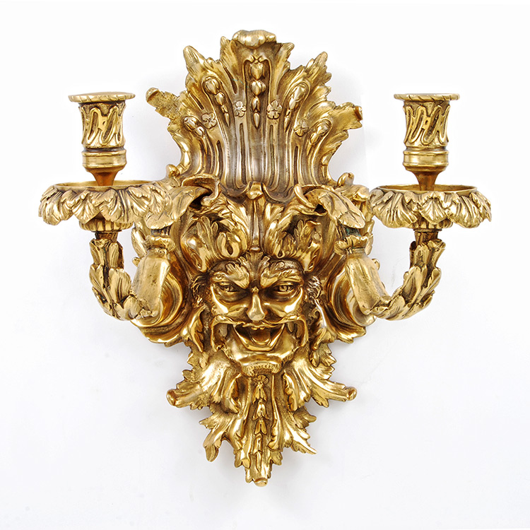 Candelabra Wall Lights : Neoclassical Empire 24kt Dore Gold Bronze Dionysus Face Wall Light Art Deco Decor