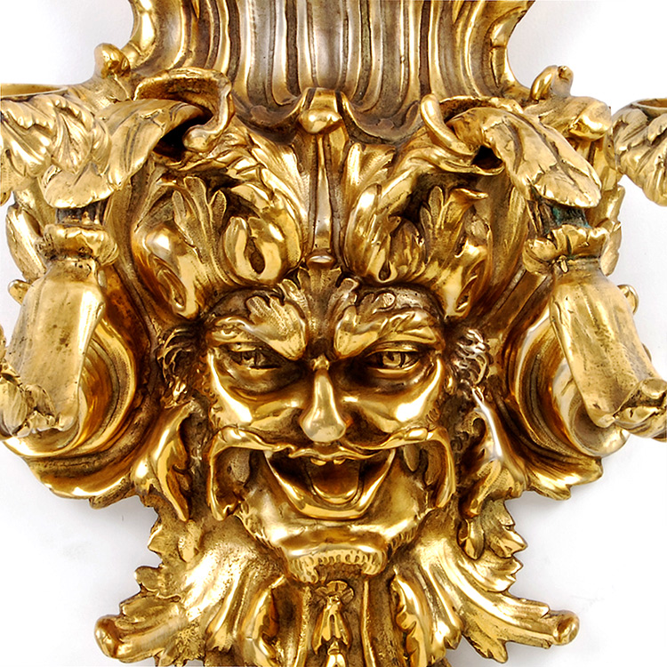 Neoclassical Empire 24kt Dore Gold Bronze Dionysus Face