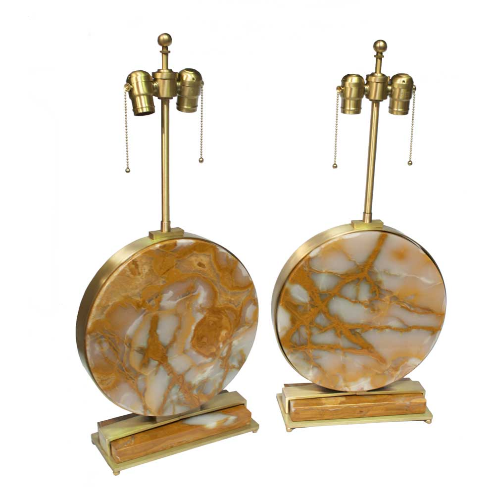 Modern brass natural onyx stone table lamps art deco decor modern brass natural onyx stone table lamps geotapseo Choice Image